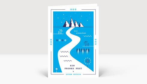 Weihnachtskarte Retro Winterland Blau