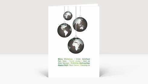weihnachtskarte weltkugeln international gr n auf wei. Black Bedroom Furniture Sets. Home Design Ideas