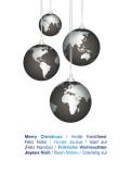 Weihnachtskarte Weltkugeln international blau auf weiß
