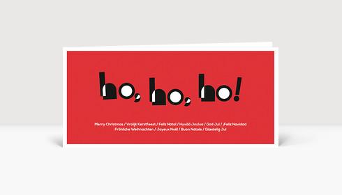 Weihnachtskarte HOHOHO Typo rot