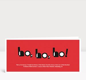 Weihnachtskarte HOHOHO Typoart rot