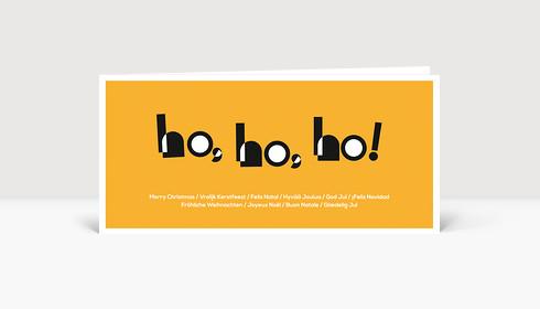 Weihnachtskarte HOHOHO Typoart orange