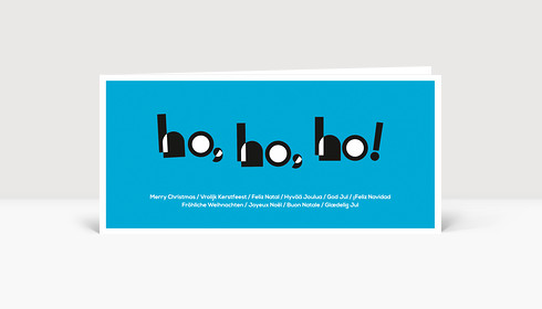 Weihnachtskarte HOHOHO Typoart blau