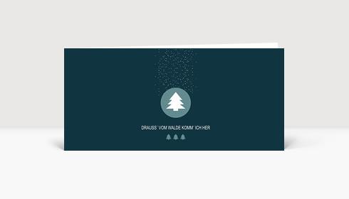 Weihnachtskarte Drauss' vom Walde petrol DIN Lang
