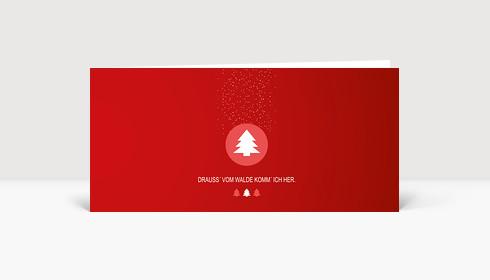 Weihnachtskarte Drauss' vom Walde rot DIN Lang