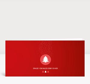 Weihnachtskarte Drauss' vom Walde rot
