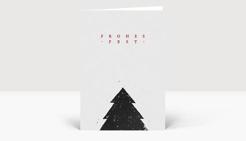Weihnachtskarte Tannenbaum Linolschnitt