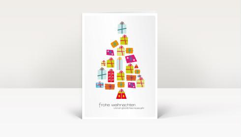 Weihnachtskarte geschenkebaum bunt auf wei dk233 - Designer weihnachtskarten ...