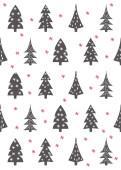 Weihnachtskarte Weihnachtstannen Grau Rot