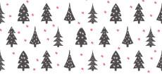 Weihnachtskarte Weihnachtstannen Grau Rot DIN Lang