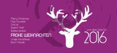 Weihnachtskarte Frohe Weihnachten international mit Hirsch violett