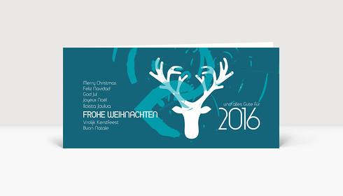 Weihnachtskarte Frohe Weihnachten international mit Hirsch blau