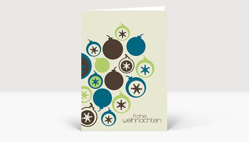 Weihnachtskarte Retro Weihnachtskugeln mit Schneeflocken in blau, grün und dunkelbraun