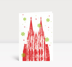 Weihnachtskarte Kölner Dom Rot-Grün