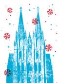 Weihnachtskarte Kölner Dom Blau-Rot