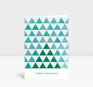 Weihnachtskarte Aquarell Tannenreihen Grün