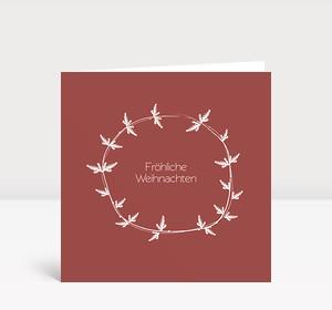 Weihnachtskarte Tannenzweig Kranz Marsala