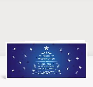 Weihnachtskarte Festliche Weihnachtsgrüße Blau