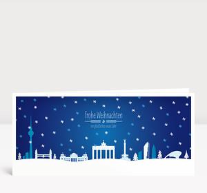 Weihnachtskarte Berlin Schnee Blau