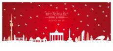 Weihnachtskarte Berlin Schnee Rot