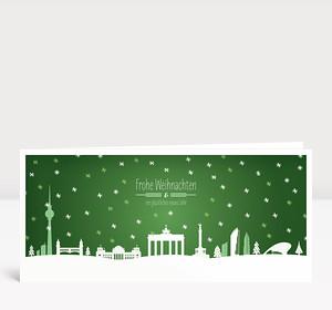 Weihnachtskarte Berlin Schnee Grün