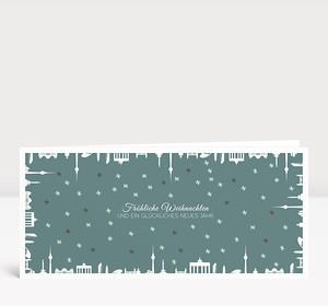 Weihnachtskarte Berlin gerahmt Grün-Grau