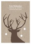 Weihnachtskarte Weihnachtshirsch auf Karton