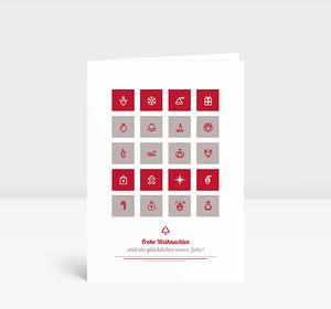 Weihnachtskarte Weihnachtliche Symbole Rot