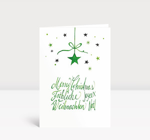 Weihnachtskarte Weihnachtsstern international grün