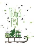 Weihnachtskarte Weihnachtsschlitten grün