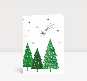 Weihnachtskarte Komet über Weihnachtswald international