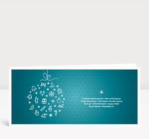 Weihnachtskarte Festliche Symbolkugel türkis