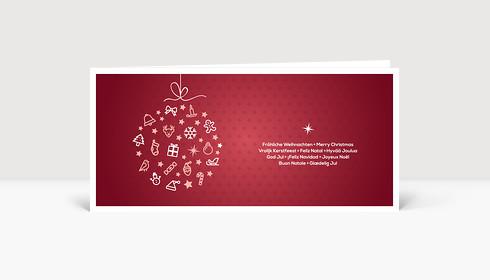 Weihnachtskarte Festliche Symbolkugel bordeauxrot