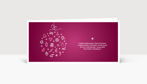Weihnachtskarte Festliche Symbolkugel violett