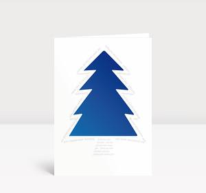 Weihnachtskarte Blauer Baum Typo