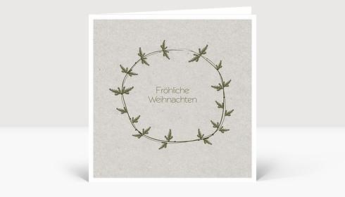 Weihnachtskarte Tannenzweig Karton grün