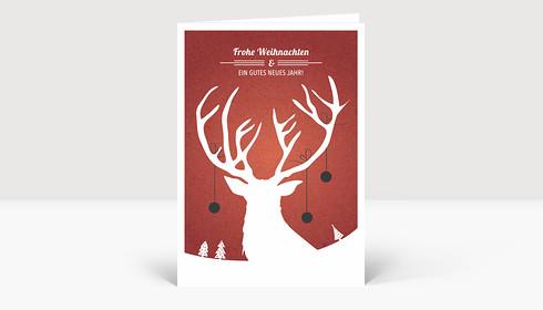 Weihnachtskarte Weihnachtshirsch rot