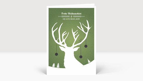 Weihnachtskarte Weihnachtshirsch grün