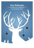 Weihnachtskarte Weihnachtshirsch blau