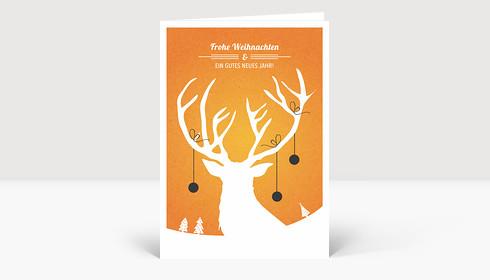 Weihnachtskarte Weihnachtshirsch orange