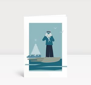 Weihnachtskarte Maritime Weihnacht in Blautönen