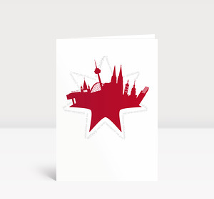 Weihnachtskarte Köln Stern rot