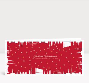 Weihnachtskarte Hamburg gerahmt rot