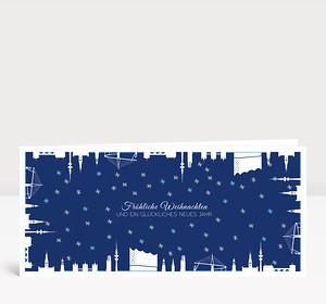 Weihnachtskarte Hamburg gerahmt blau