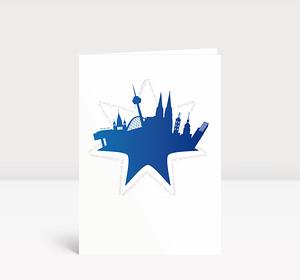 Weihnachtskarte Köln Stern blau