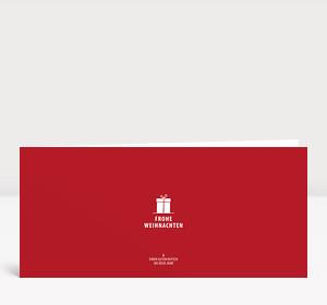 Weihnachtskarte Kleines Geschenk auf rot