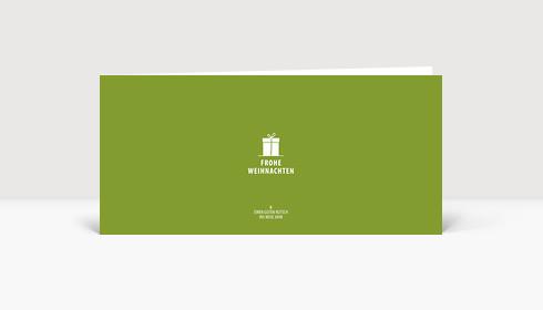 Weihnachtskarte Kleines Geschenk auf grün