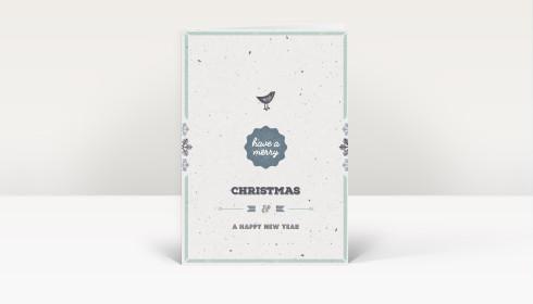 Weihnachtskarte vogelgezwitscher blau englisch dk2433 - Weihnachtskarte englisch ...