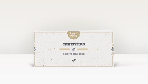 Weihnachtskarte vogelgezwitscher gold din lang englisch dk2434 - Weihnachtskarte englisch ...