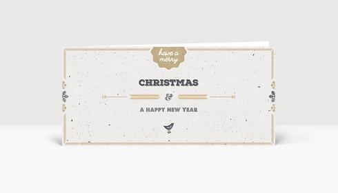 Weihnachtskarte Vogelgezwitscher gold DIN Lang englisch